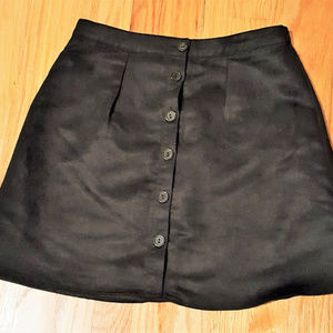 Black Suede Womens Mini Skirt Button Rue 21